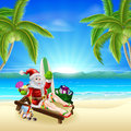 Santa relaxing on hot sunny beach christmas illustration in the under palm trees with surf board presents sack and other holiday Royalty Free Stock Image