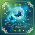 Santa riding sleigh in christmas night background xmas holidays card with flying three horses gifts holly moon lace Stock Photos