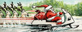 Santa riding snowmobile original illustration of claus a laden with a bag of presents past four reindeer Royalty Free Stock Photo