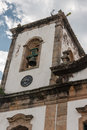 Santa rita church paraty rio de janeiro detail of the tower of the typical portuguese colonial style single clock tower in the Stock Photo