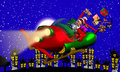 Santa rocket sleigh computer generated d cartoon illustration depicting claus flying his on christmas eve Stock Photo