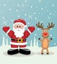 Santa and rudolph deer