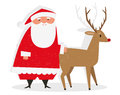 Santa rudolph illustration of claus and the red nosed reindeer isolated on white background Royalty Free Stock Photos