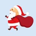 Santa running with bag