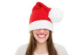 Santa s beanie hat is too big beautiful happy young caucasian brunette woman wearing claus that for her christmas and teeth care Stock Images