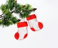 Santa s boots on christmas tree two Stock Photos