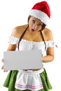 Santa s helper sexy asian female dressed as an elf holding a blank ad sign Royalty Free Stock Photography