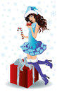 Santa shopping girl with xmas ball Royalty Free Stock Photo