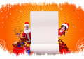 Santa with sign on orange background Royalty Free Stock Photography