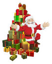 Santa sitting on a pile of gifts waving Stock Images