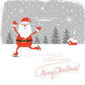 Santa skate skatechristmas illustration greeting card Stock Photography