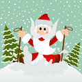 Santa on skis Royalty Free Stock Photo