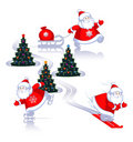 Santa on skis, on skates, with the gifts. Royalty Free Stock Images