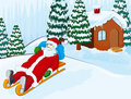 Santa on a sledge Royalty Free Stock Photo