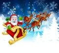 Santa Sleigh Christmas Background Royalty Free Stock Photo