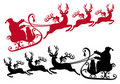 Santa with sleigh and reindeer,  Royalty Free Stock Photo