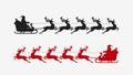 Santa sleigh reindeer silhouette. Christmas symbol Royalty Free Stock Photo
