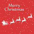 Santa sleigh reindeer silhouette with snow Royalty Free Stock Photo