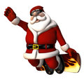 Santa Snowboarder Stock Photography