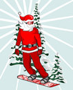 Santa snowboarding Royalty Free Stock Photos