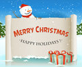 Santa snowman behind christmas parchment backgroun illustration of a cartoon happy character holding white scroll sign for merry Stock Photo