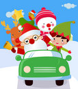 Santa ,Snowman and Rudolf in a car Royalty Free Stock Photo