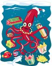 Santa squid a delivering christmas presents to his underwater friends Royalty Free Stock Images