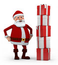 Santa with stack of presents Stock Image