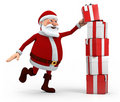 Santa stacking presents Royalty Free Stock Image