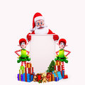 Santa is standing behind a big sign Royalty Free Stock Photos