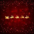 Santa and stars on red background christmas with shining illustration Royalty Free Stock Photos