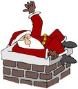 Santa stuck in a chimney Stock Images