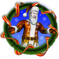 Santa tiger ofcircle christmas tree end t Royalty Free Stock Photos