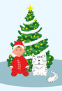Santa toodler boy vith cat under decorated Christmas tree, Vector Illustration Royalty Free Stock Photo