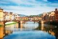 Santa Trinita bridge over the Arno River, Florence Royalty Free Stock Photo