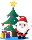 Santa under christmas tree with presents wrapped gift boxes a decorated claus Royalty Free Stock Photography