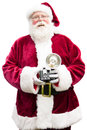 Santa with vintage camera claus holding a laughs looking into the isolated on white Stock Images