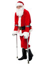 Santa walking with the help of crutches Royalty Free Stock Image