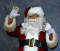 Santa waves to the children Royalty Free Stock Photography