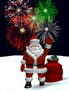 Santa Waving with Christmas Fireworks Stock Photography