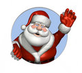 Santa Waving Through a Circle Royalty Free Stock Photo