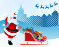 Santa waving to his reindeer and calling come and get him Royalty Free Stock Images