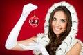 Santa woman  holding Christmas decoration Royalty Free Stock Photo