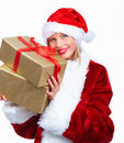 Santa woman holding a gift isolated Stock Photo