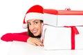 Santa Woman Looking From Behin...