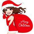 Santa woman merry christmas beautiful brunette claus carrying a huge red bag with the text Royalty Free Stock Photography