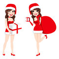 Santa woman presents illustration of a beautiful brunette twin sisters dressed with a claus costume dress carrying and gift boxes Stock Photography