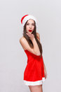 Santa woman with red lips sending kisses Royalty Free Stock Photo