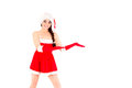 Santa woman showing copy space Royalty Free Stock Images