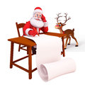 Santa writting along gift list with reindeer Stock Photo